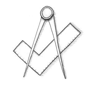 Freimaurerloge in Fürth, Loge Zu den Drei Pfeilen - Winkelmaß und Zirkel